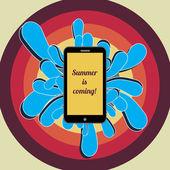 Smartphone Advertising in Retro Style. EPS10 Vector Background — Stock Vector