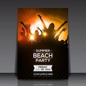 Volantino festa di estate spiaggia — Vettoriale Stock