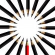 Black pencils and red pencil in arrange on white background — Stock Vector #9740284