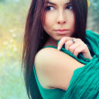 Portrait of a beautiful girl on autumn background. Autumn Woman Fashion Portrait — Stock Photo