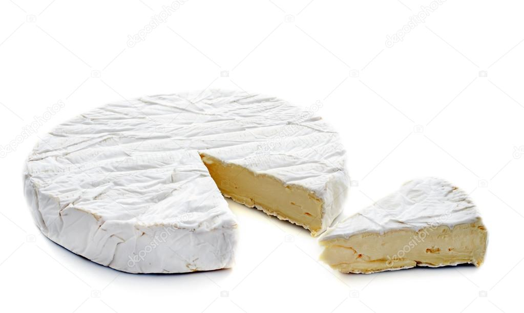 Brie cheese in front of white background  Stock Photo #16342353