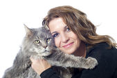Maine coon cat and woman — Stock Photo