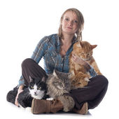 Woman and cats — Stock Photo