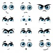 Cartoon faces with various expressions - Stock Vector
