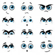 Cartoon faces with various expressions — Stock Vector