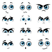 Cartoon faces with various expressions — Cтоковый вектор