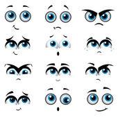 Tecknade ansikten med olika uttryck — Stockvektor