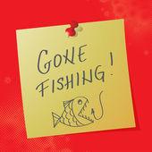 """gone fishing"" handwritten message — Stock Vector"