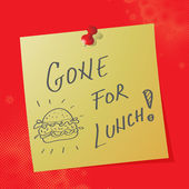 """Messaggio scritto a mano """"andato per pranzo — Vettoriale Stock"""