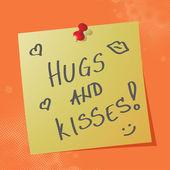 """hugs and kisses"" handwritten message — Stock Vector"