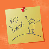 """I love school"" handwritten message — Stock Vector"