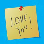 Message manuscrit « love you » — Vecteur