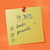 To buy list handwritten message — Stock Vector
