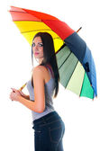 Woman with rainbow umbrella2 — ストック写真