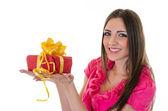 Dívka s dárek — Stock fotografie
