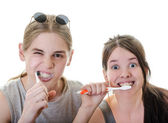 Couple Funny Brushing Teeth — Stock Photo