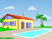 House with pool — Stock Vector