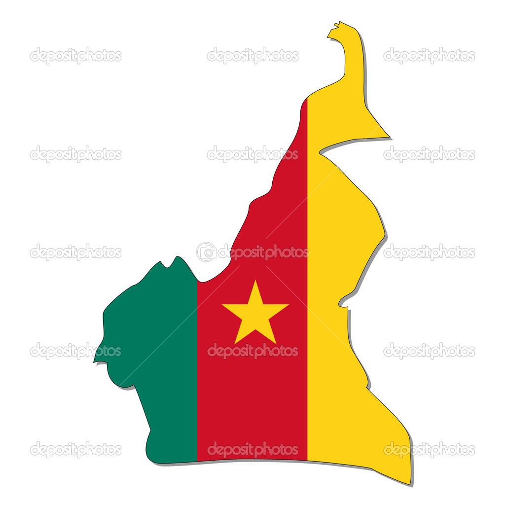 地图和国旗的喀麦隆