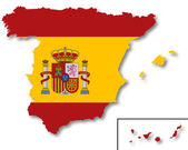 Map and flag of Spain — Stock Photo