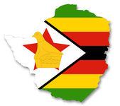 Mapa i flaga zimbabwe — Zdjęcie stockowe