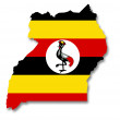 Stock Photo: Map and flag of Uganda