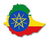 Map and flag of Ethiopia — Stock Photo