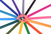 Colored pencils in a circle — Stock Photo