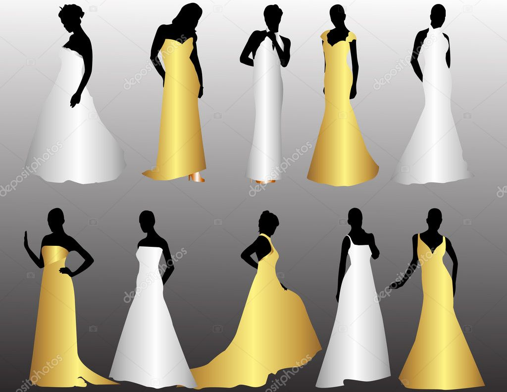 Bridal Party Silhouette Vector Manny silhouettes of bride
