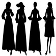 Women silhouettes fashion — Stock Vector