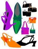 Illustration set of women's shoes and bags — Stock Vector