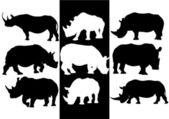 Rinoceronte vector siluetas — Vector de stock