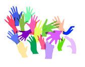 Multicolored hands — Stock Vector