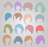 Hair styles wigs — Stock Vector