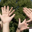 Hands forming sign — Foto Stock