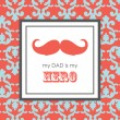 Card with mustache for Father's Day. vector illustration — Vecteur