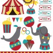 Cute circus elements collection. vector illustration - Stock Vector