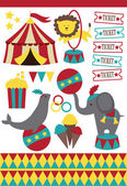 Cute circus elements collection. vector illustration — Stock Vector