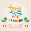 Stockvector : Happy birthday card design. vector illustration