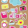 Stock Vector: Dear diary scrapbook elements. vector illustration