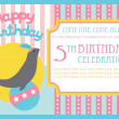 Kid birthday invitation card design. vector illustration — Stock Vector