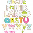Stock Vector: Cute childlike alphabet. vector illustration