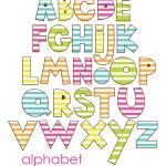 Cute childlike alphabet. vector illustration — Stock Vector
