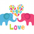 Cute elephant in love. vector illustration — Stock Vector