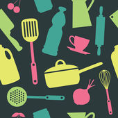 Cute kitchen pattern. vector illustration — Vecteur
