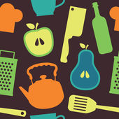 Cute kitchen pattern. vector illustration — Vettoriale Stock