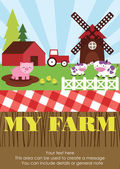 Cute farm card — Stockvektor
