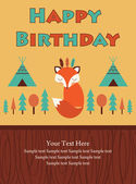 Happy birthday card with fox — Stok Vektör