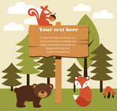 Forest animal card — Vettoriale Stock