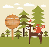 Forest animal card — Vetorial Stock