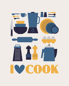 I love cook card — Vetorial Stock
